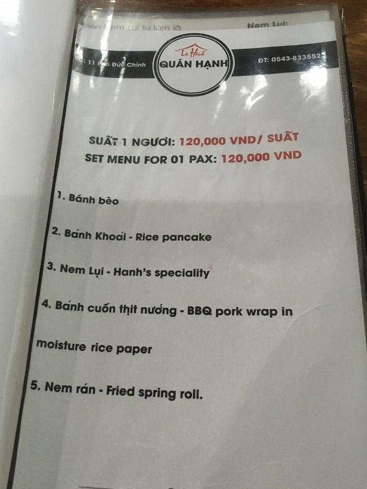 フエ料理を堪能できるハンレストランのメニュー