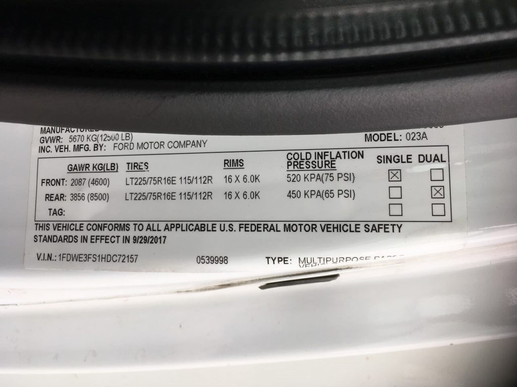 タイヤの空気圧リスト