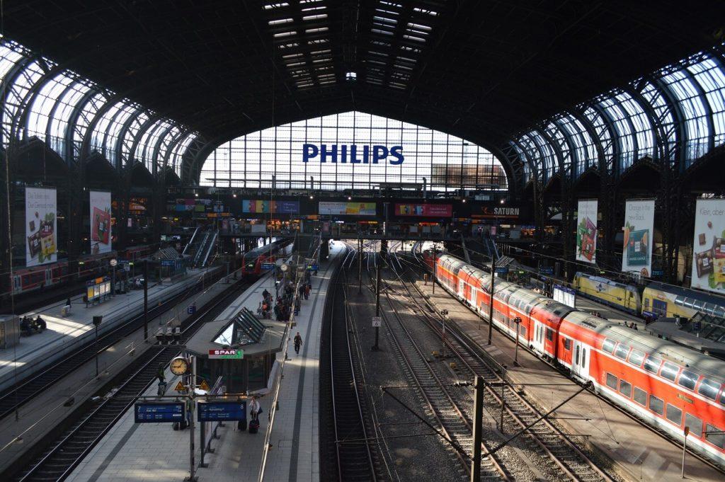 ハンブルク中央駅のプラットフォーム