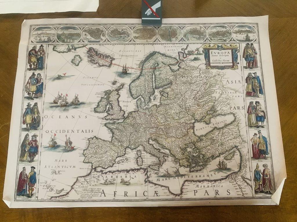 クロンボー城にある地図の展示