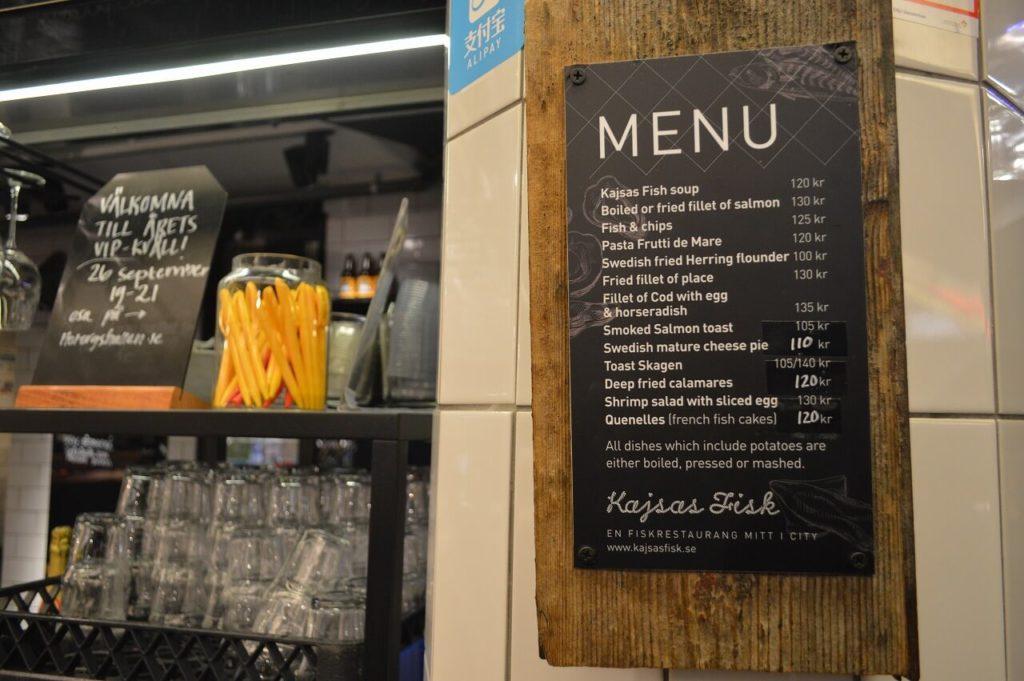 Stockholmのフィッシュスープがおススメのお店「Kajsas fisk」のメニュー