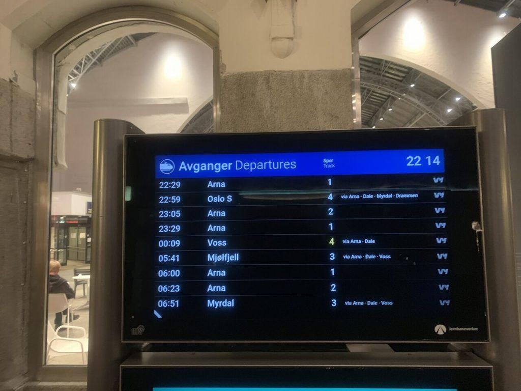 ノルウェーのベルゲン駅の時刻表