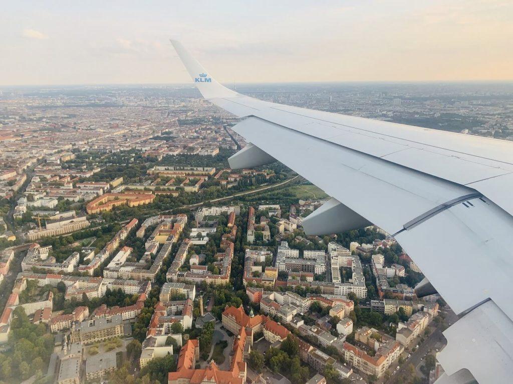 飛行機から見えるベルリンの街並み