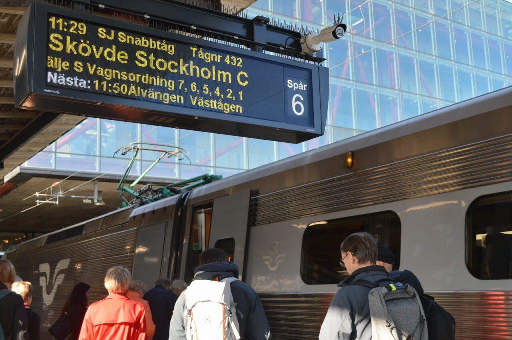 イェーテボリ駅からストックホルム駅へ行く電車