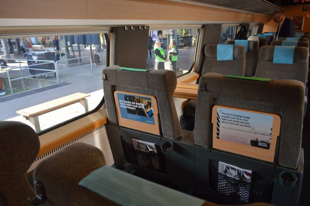 スウェーデン国鉄車内の1等車の座席