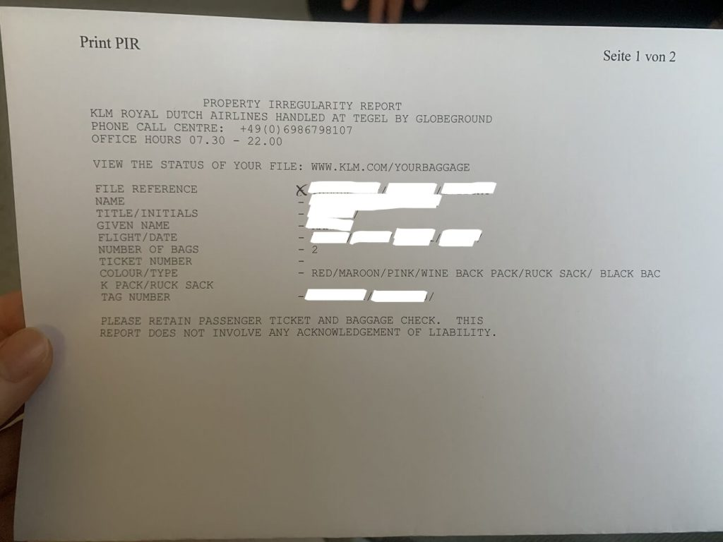 KLMロストバッゲージ証明書