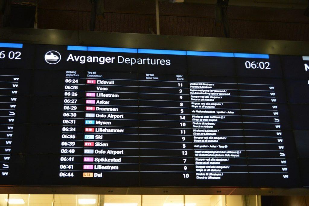 オスロ中央駅の時刻表