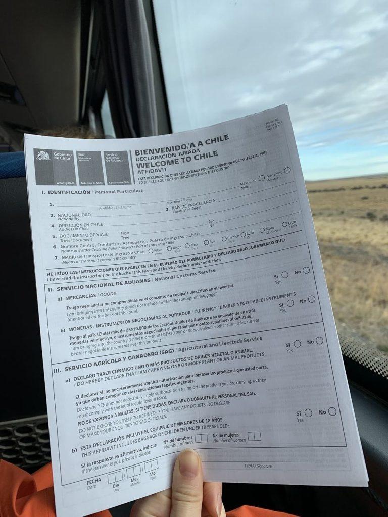 チリ入国の税関書類