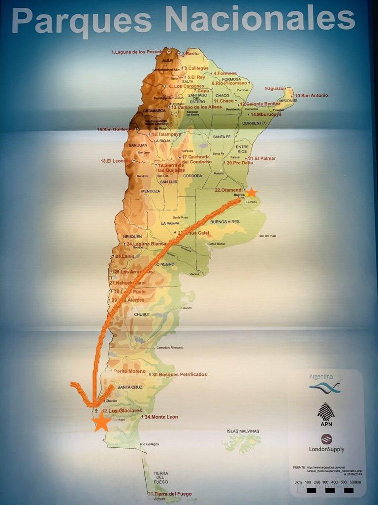 アルゼンチンの移動MAP