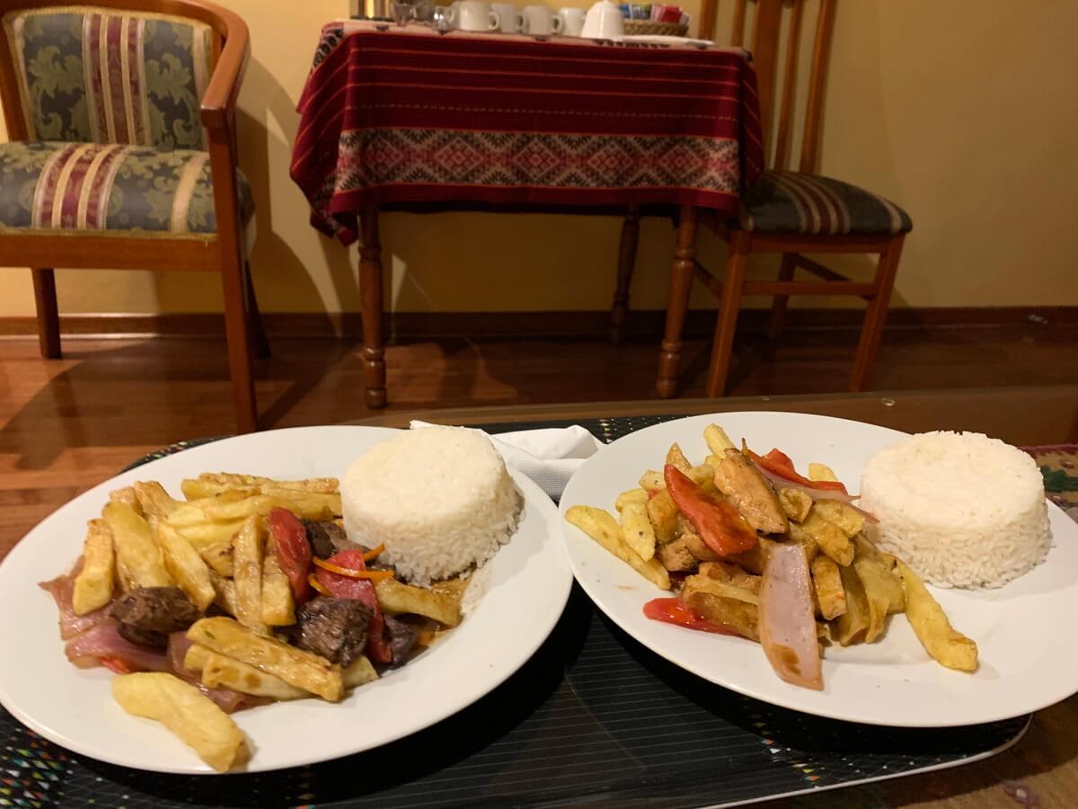 クスコのホテルで食べた夜ご飯