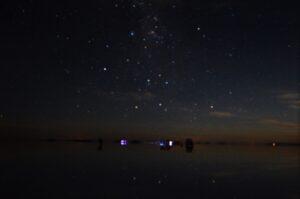 ウユニ塩湖のピンボケした星空