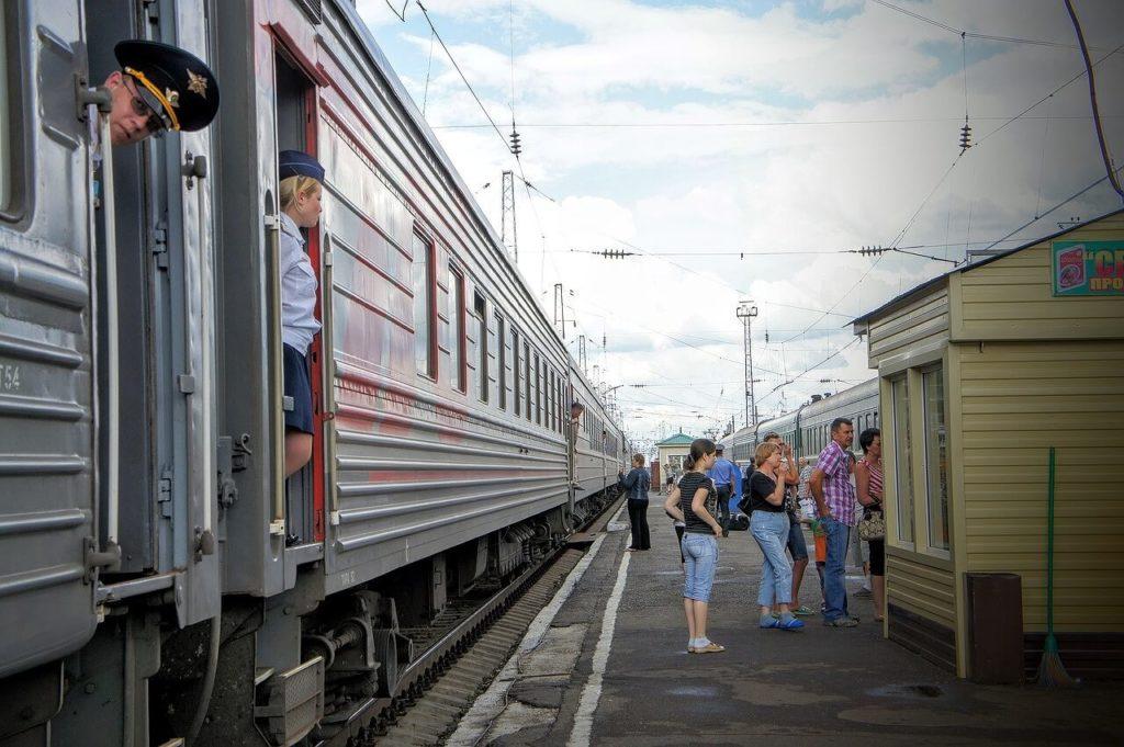 シベリア鉄道のプラットフォーム
