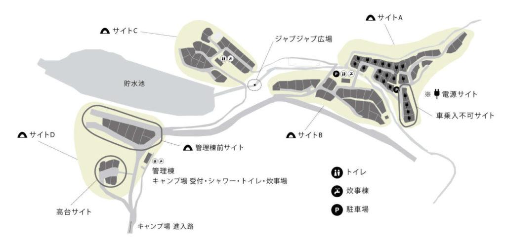 スノーピーク箕面キャンプフィールドマップ