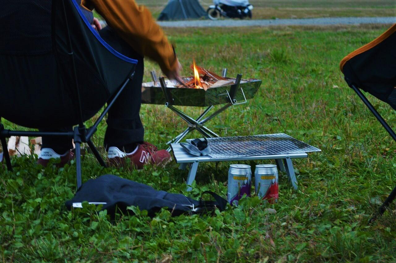 ふもとっぱらキャンプ場での焚き火